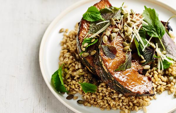 Miso-roasted pumpkin with farro