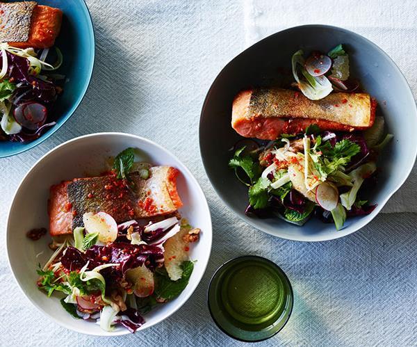 "**[Crisp-skin trout with grapefruit, walnut and radicchio salad](https://www.gourmettraveller.com.au/recipes/fast-recipes/crisp-skin-trout-with-grapefruit-walnut-and-radicchio-salad-13824|target=""_blank"")**"