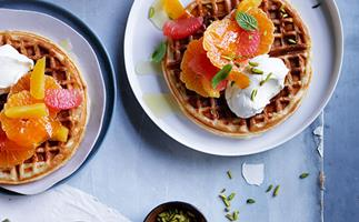 Citrus waffles with honey labne