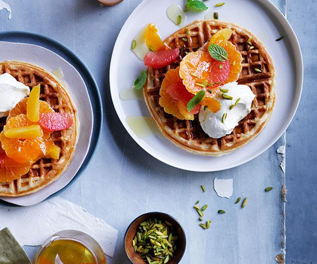 "**[Citrus waffles with honey labne](http://www.gourmettraveller.com.au/recipes/browse-all/citrus-waffles-with-honey-labne-12053|target=""_blank"")**"