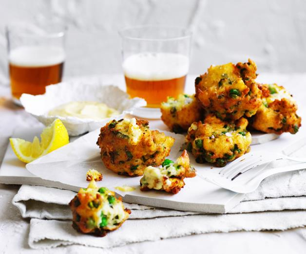 """**[Pea and ricotta frittelle](https://www.gourmettraveller.com.au/recipes/browse-all/pea-and-ricotta-frittelle-12878