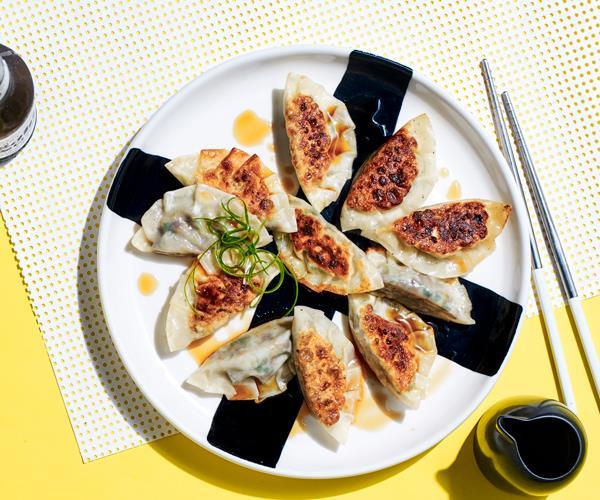 "**[Yoko Dining's mushroom gyoza](https://www.gourmettraveller.com.au/recipes/chefs-recipes/mushroom-gyoza-18763|target=""_blank"")**"