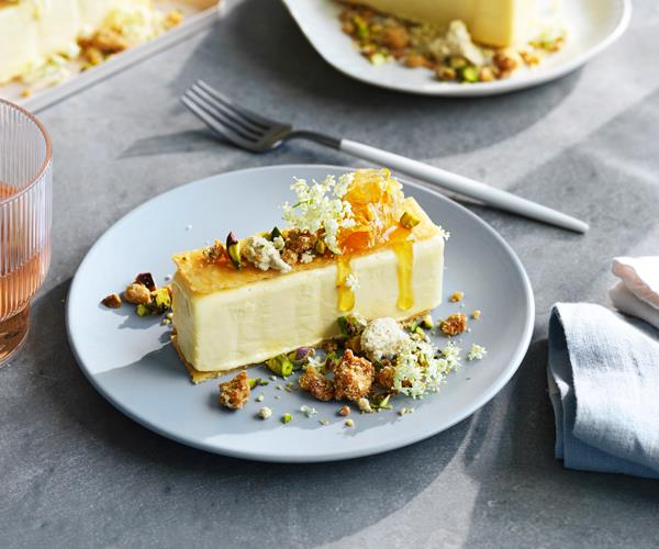 "**[Jacqui Challinor's olive-oil ice-cream sandwich with halva and pistachio](https://www.gourmettraveller.com.au/recipes/chefs-recipes/olive-oil-ice-cream-18768|target=""_blank"")**"