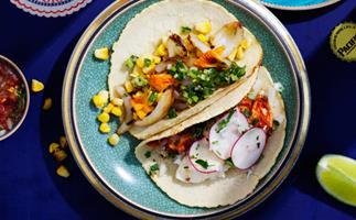 Calamari and corn tacos with salsa verde