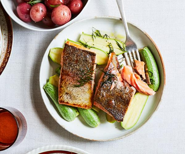 """**[King trout and Lebanese zucchini](https://www.gourmettraveller.com.au/recipes/chefs-recipes/king-trout-and-lebanese-zucchini-15773