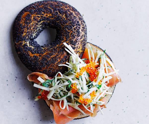 """**[Smoked-trout bagels with celeriac, kohlrabi and fennel rémoulade and trout roe](https://www.gourmettraveller.com.au/recipes/fast-recipes/bagels-smoked-trout-18792