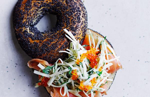 Smoked-trout bagels with celeriac, kohlrabi and fennel rémoulade and trout roe