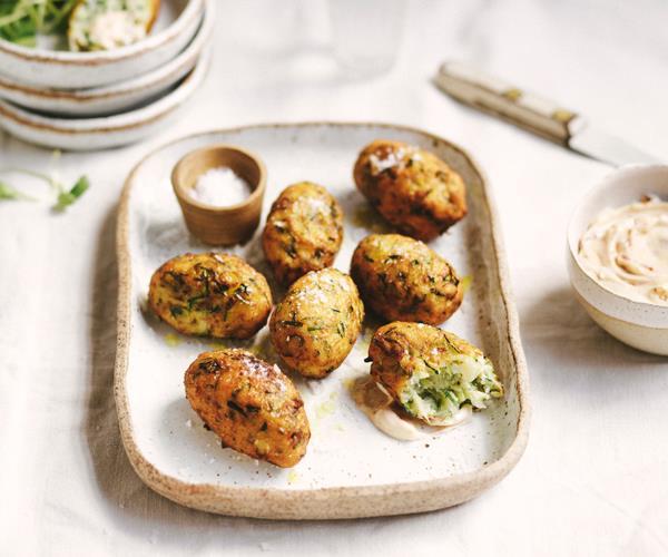 "**[Zucchini and potato croquettes](https://www.gourmettraveller.com.au/recipes/fast-recipes/zucchini-croquettes-18800 target=""_blank"")**"