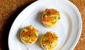 Shane Delia's semolina crumpets with caviar and saffron egg mayonnaise