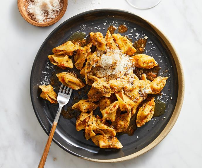 Dan Puskas's sopressini pasta with pesto alla Trapanese