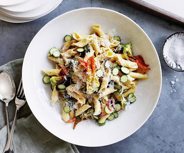 """[**Zucchini flower, mint and pecorino penne**](https://www.gourmettraveller.com.au/recipes/browse-all/zucchini-flower-mint-and-pecorino-penne-11095 target=""""_blank"""")"""