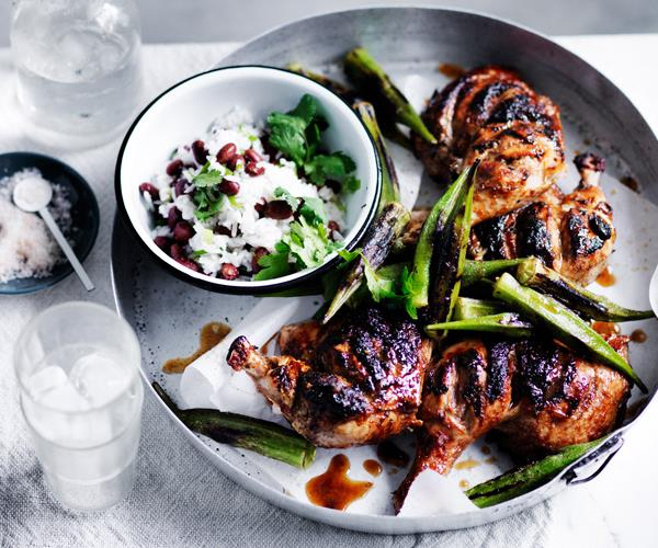 Barbecued chicken with blackened okra