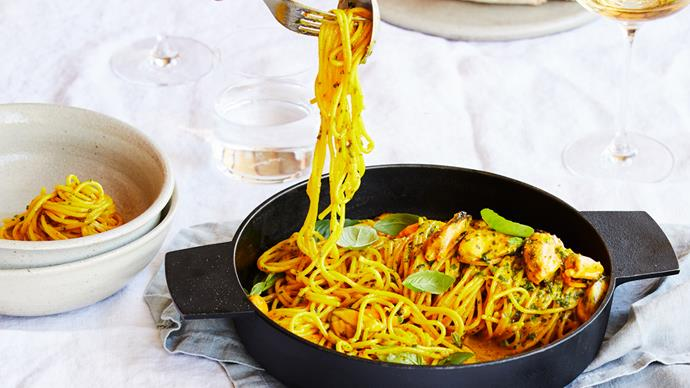 Fico's saffron tagliolini with mussels, basil and lemon