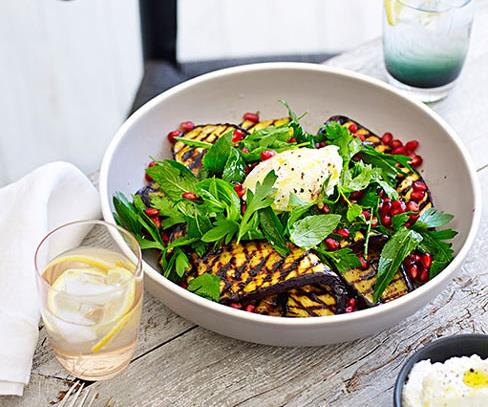 Barbecued eggplant salad with goat's curd, mint and pomegranate