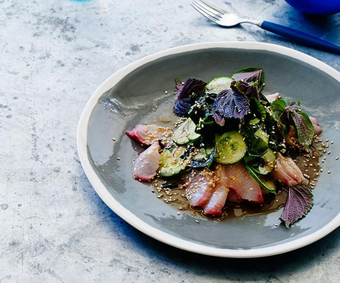 "**[Kingfish and cucumber with soy-ginger dressing](https://www.gourmettraveller.com.au/recipes/browse-all/kingfish-and-cucumber-with-soy-ginger-dressing-12183|target=""_blank"")**"