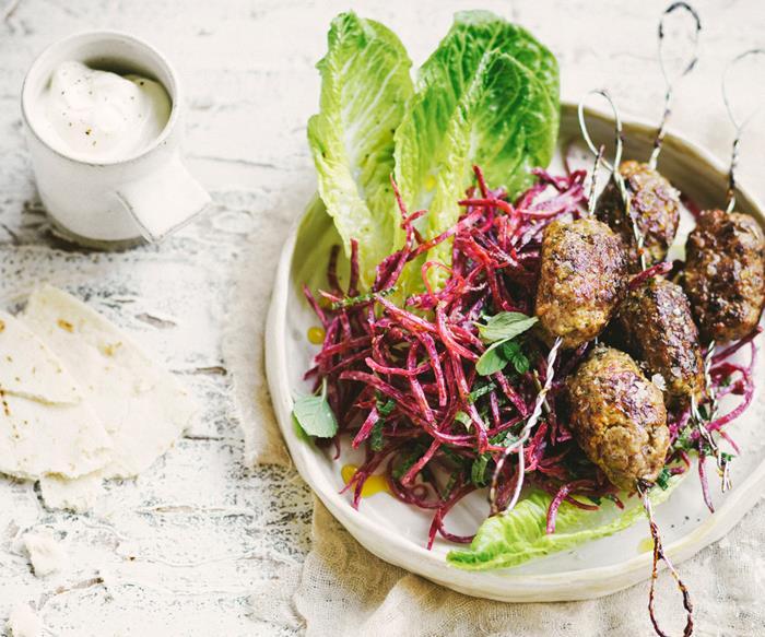 Lamb kofta with beetroot salad