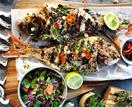 Three Blue Ducks' barbecued whole fish with lemongrass and lime leaves