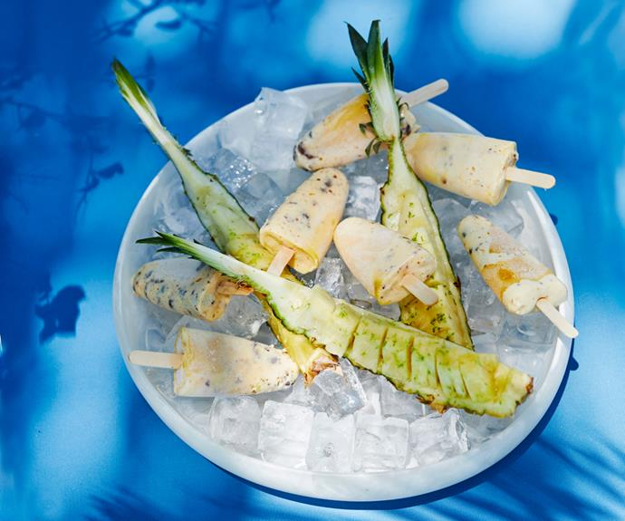 "**[Raes on Wategos' mango-macadamia popsicles with Piña Colada pineapple](https://www.gourmettraveller.com.au/recipes/chefs-recipes/mango-popsicles-18876 target=""_blank"")**"