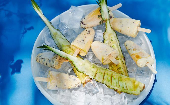 Raes on Wategos' mango-macadamia popsicles with Piña Colada pineapple