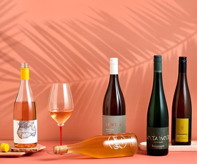 From left: 2020 Fleet Pinot Gris, 2018 Sentiō Aligoté, 2017 Loosen Barry Wolta Wolta Riesling, 2018 Jo Landron La Louvetrie Muscadet Sèvre et Maine, 2020 Geyer Wine Co Chenin Blanc (bottle lying down).