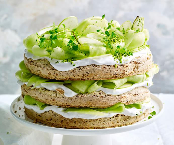 """**[Jaclyn Koludrovic's gluten-free pistachio, lime and coconut cream cake with melon, apple and mint](https://www.gourmettraveller.com.au/recipes/chefs-recipes/gluten-free-pistachio-cake-18887 target=""""_blank"""")**"""