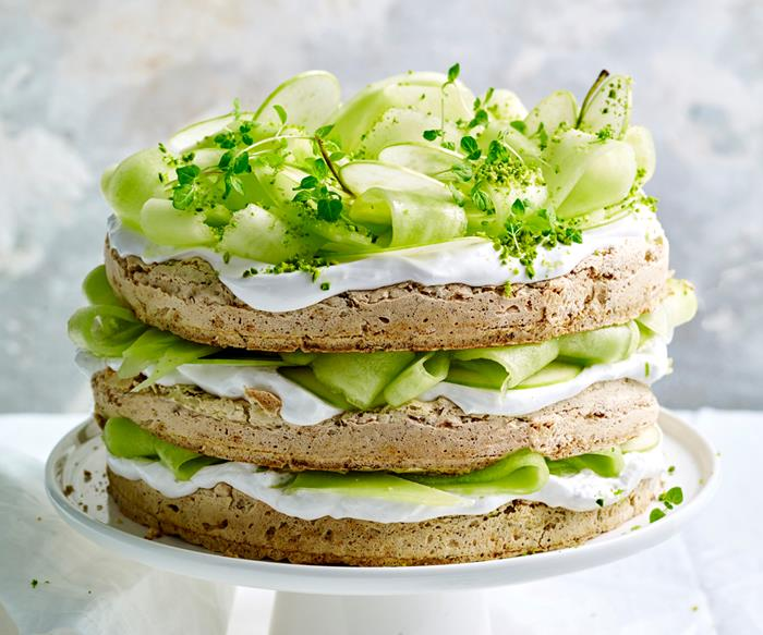 Jaclyn Koludrovic's gluten-free pistachio, lime and coconut cream cake with melon, apple and mint