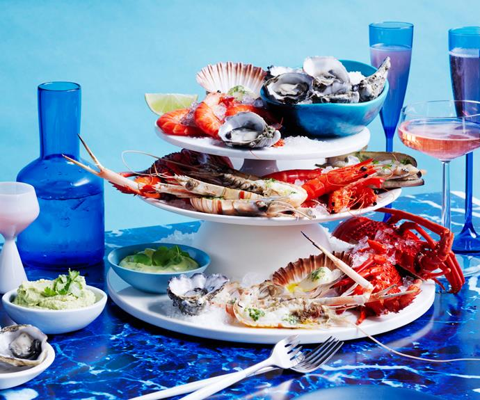 """**[Seafood platter with chervil butter and a trio of sauces](https://www.gourmettraveller.com.au/recipes/browse-all/seafood-platter-chervil-butter-18891 target=""""_blank"""")**"""