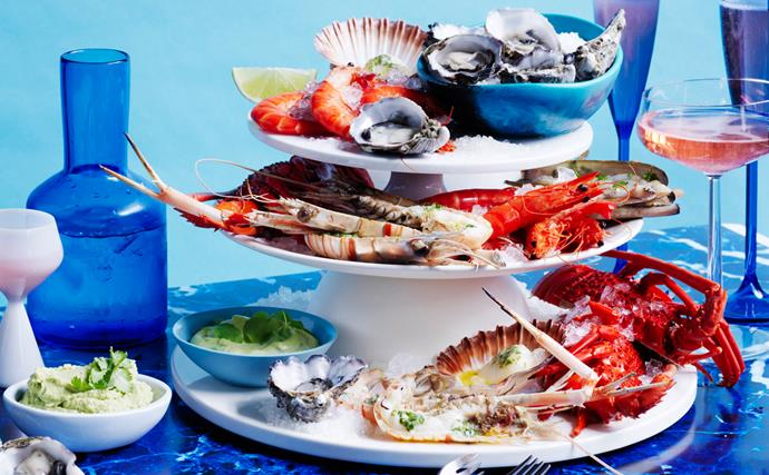 Seafood platter with chervil butter and a trio of sauces