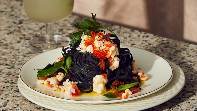 Marameo's squid-ink spaghetti with crab, chilli and tomato