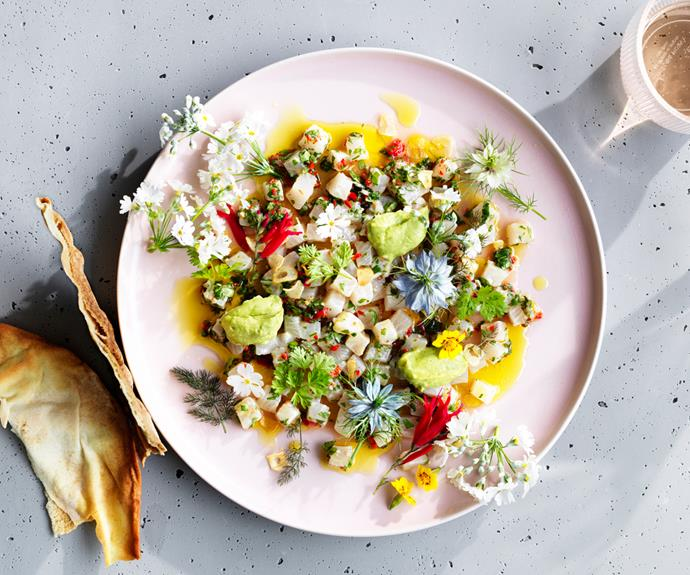 """**[Jacqui Challinor's kingfish ceviche with avocado and finger lime](https://www.gourmettraveller.com.au/recipes/chefs-recipes/kingfish-ceviche-avocado-18896