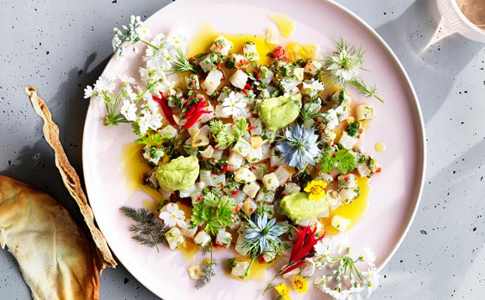 Jacqui Challinor's kingfish ceviche with avocado and finger lime