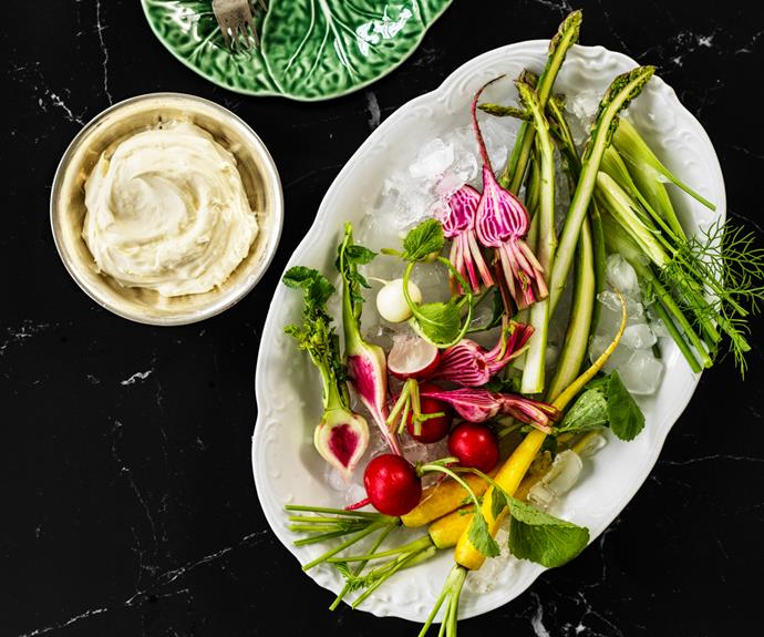 "**[Andrew McConnell's spring crudités with house-made curd](https://www.gourmettraveller.com.au/recipes/chefs-recipes/crudites-curd-18907|target=""_blank"")**"
