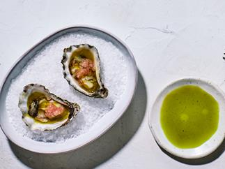Raes on Wategos' oysters with lemon-aspen vinegar, anise-myrtle oil and finger lime