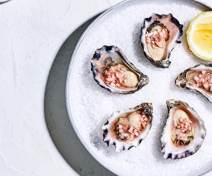 "**[Leigh Street Wine Room's oysters with pepperberry mignonette](https://www.gourmettraveller.com.au/recipes/chefs-recipes/oysters-pepperberry-mignonette-18917|target=""_blank"")**"