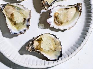 Bennelong's oysters with lemon-pepper granita