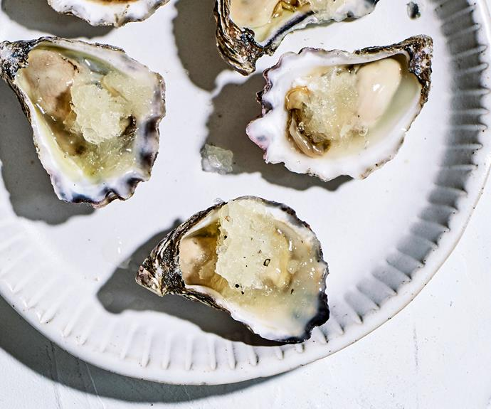 "**[Bennelong's oysters with lemon-pepper granita](https://www.gourmettraveller.com.au/recipes/chefs-recipes/oysters-lemon-granita-18919|target=""_blank"")**"