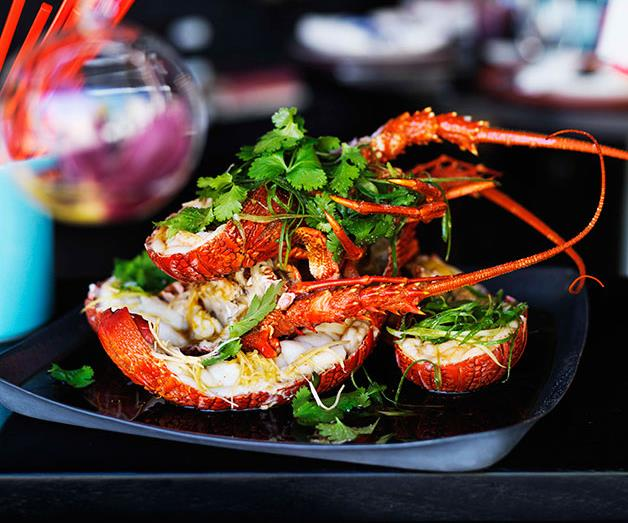 Steamed lobster with ginger and spring onions