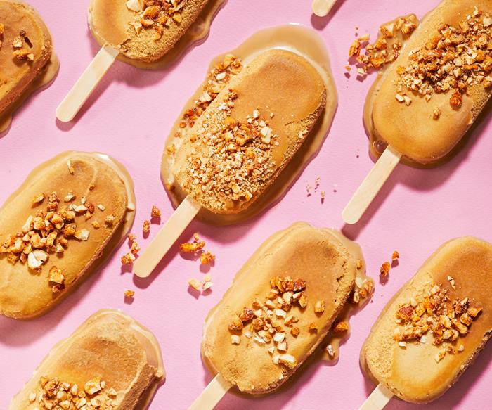 Vietnamese coffee ice-creams with salted cashew crumb