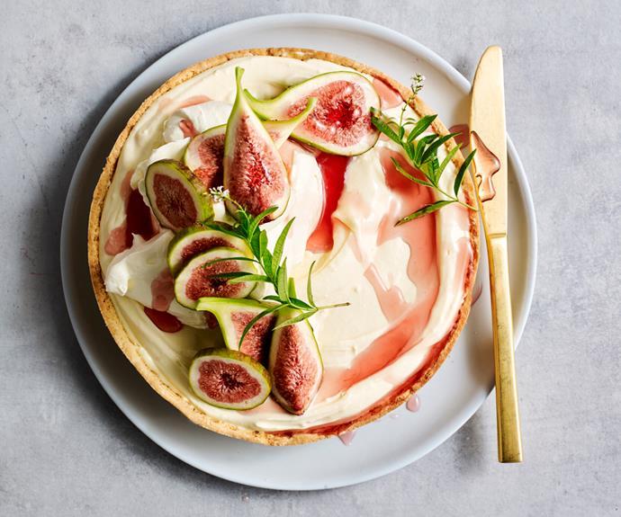 "**[Jaclyn Koludrovic's gluten-free lemon verbena, white chocolate and fig tart](https://www.gourmettraveller.com.au/recipes/chefs-recipes/fig-tart-18931|target=""_blank"")**"