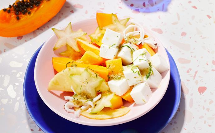 Tropical fruit salad with coconut jelly and ginger syrup
