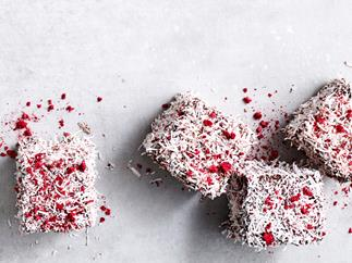 Jaclyn Koludrovic's gluten-free and dairy-free raspberry, vanilla and chocolate lamingtons