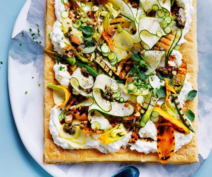 "**[Salted ricotta tart with zucchini and black garlic](https://www.gourmettraveller.com.au/recipes/browse-all/zucchini-ricotta-tart-18958|target=""_blank"")**"