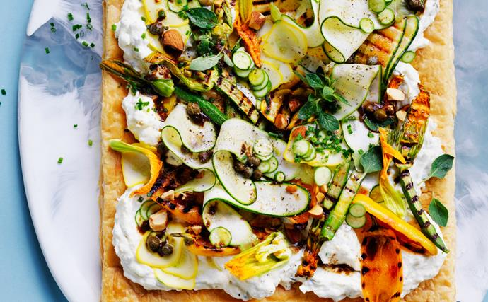 Salted ricotta tart with zucchini and black garlic