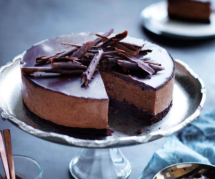 "**[Chocolate mousse cake](https://www.gourmettraveller.com.au/recipes/browse-all/chocolate-mousse-cake-14231|target=""_blank"")**"