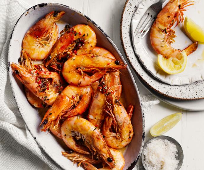 """**[Chilli-rosemary prawns with butter](https://www.gourmettraveller.com.au/recipes/fast-recipes/chilli-rosemary-prawns-19014 target=""""_blank"""")**"""