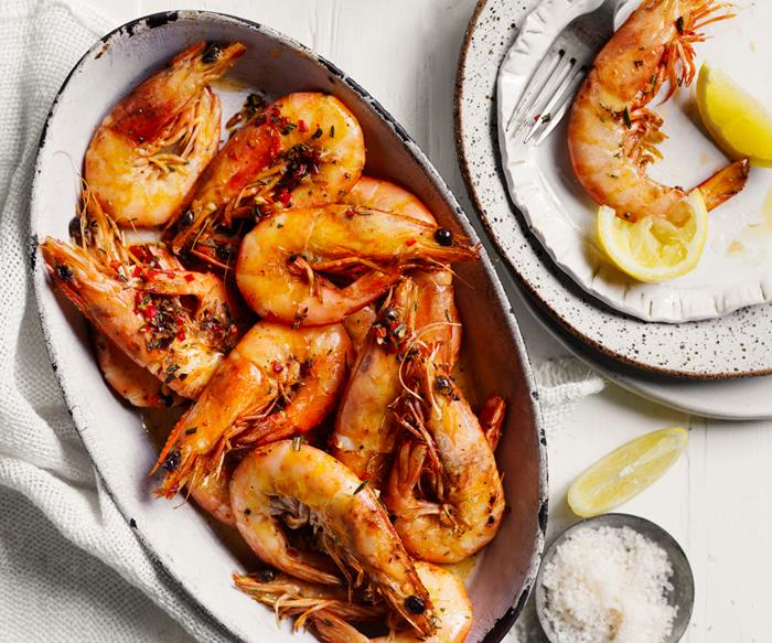 Chilli-rosemary prawns with butter