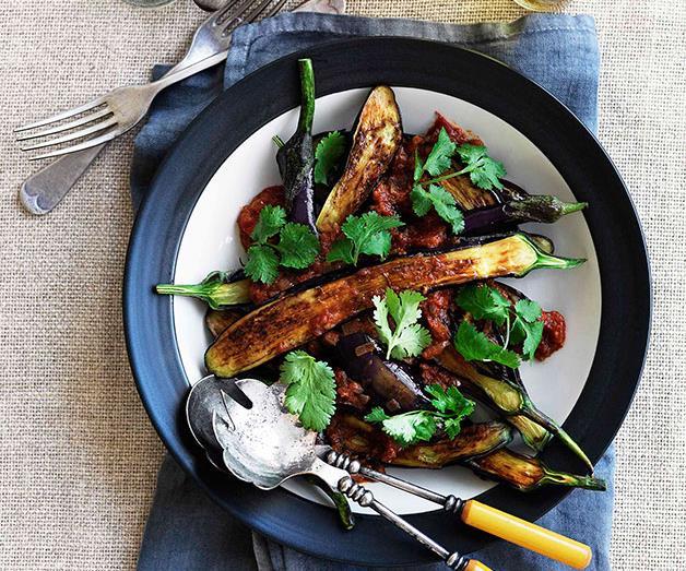 "**[Hanuman's eggplant pachadi](https://www.gourmettraveller.com.au/recipes/chefs-recipes/eggplant-pachadi-8974|target=""_blank"")**"