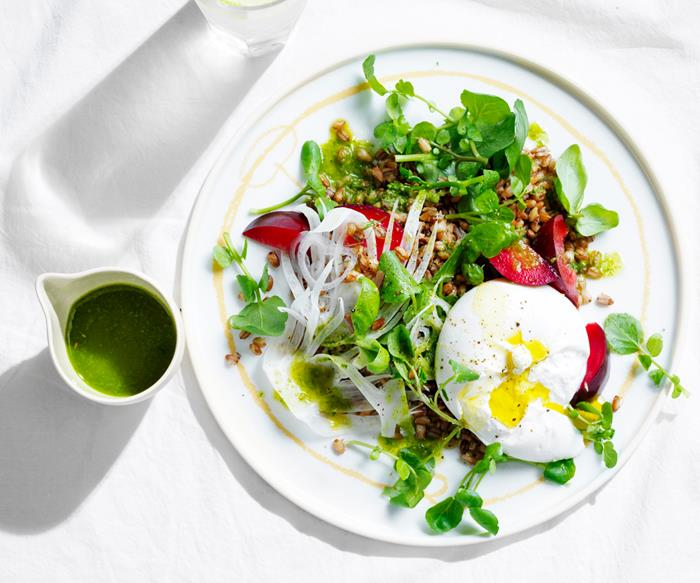 Blood plum, burrata and watercress salad with toasted barley