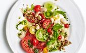 Summer tomato salad with butter beans and Bloody Mary dressing