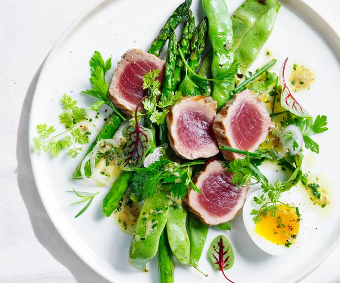 """**[Grilled tuna salad with egg, asparagus and anchovy vinaigrette](https://www.gourmettraveller.com.au/recipes/browse-all/grilled-tuna-salad-19045 target=""""_blank"""")**"""